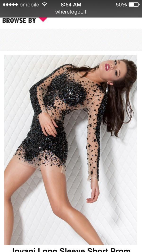 short black long sleeve  jeweel dress