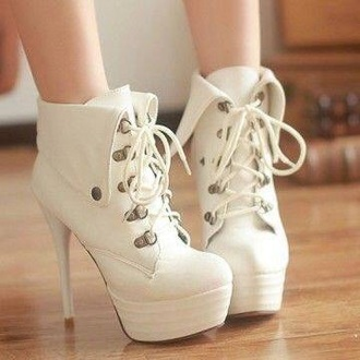 shoes high heel boots ankle boots cute white