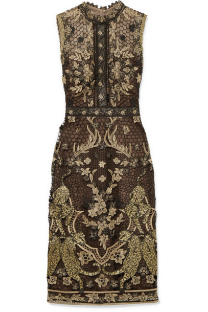 Marchesa Notte dress lace dress metallic lace black