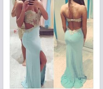 dress sweetheart neckline prom prom dress slit formal formal dress rhinestones blue blue dress mint green prom dress mint side cut out dress