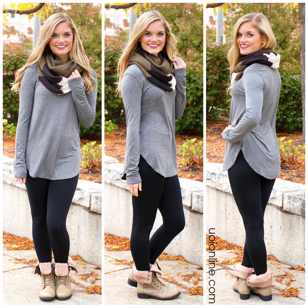 Grey Long Sleeve Tunic | uoionline.com: Women's Clothing Boutique