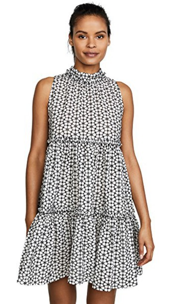 Lisa Marie Fernandez dress eyelet dress mini ruffle white black daisy