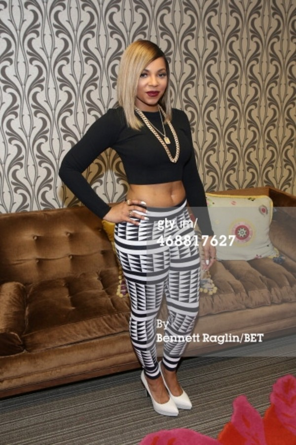pants black and white ashanti black crop tops gold chain leggings black leggings printed leggings aztec leggings