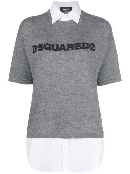 Dsquared2 sweater short women cotton wool grey