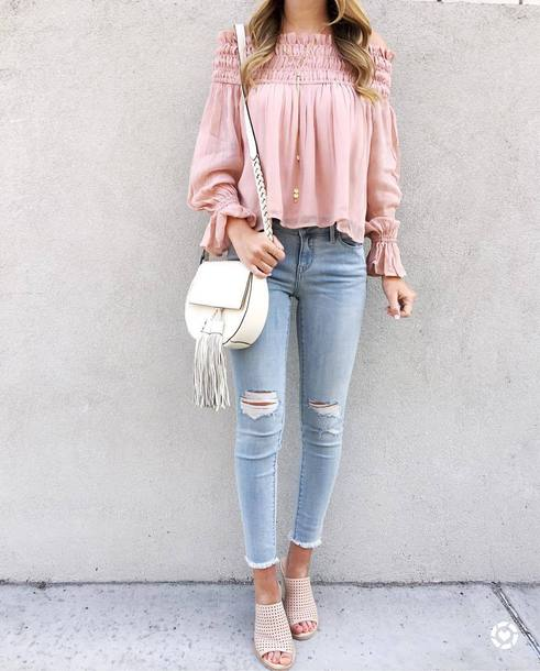 5d006e3c1c611 blouse tumblr ripp pink blouse off the shoulder off the shoulder top long  sleeves bag white