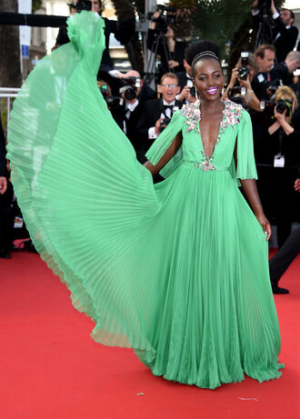 dress gown prom dress red carpet dress cannes lupita nyong'o green green dress