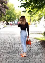 shoes,tumblr,sandals,flat sandals,mules,bag,denim,jeans,blue jeans,top,see through,see through top,polka dots,bodysuit