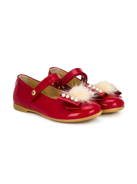 bow leather red shoes
