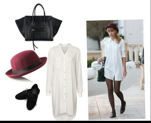 dress black swag bag shirt dress shirt white shirt white
