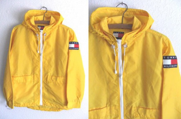 new season deft design buy sale 90s Tommy Hilfiger Anorak Raincoat - Club Kid Yellow Textured Parka with  Convertible Hood - Mens size XS / S