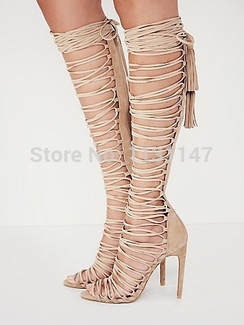 Aliexpress.com : Buy 2015 Beige cuts out strappy stiletto heel ...