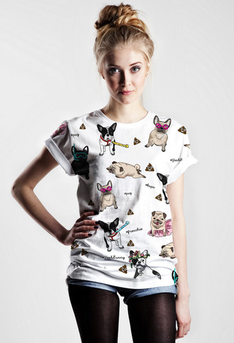 attack poop me like yeahbunny yeah bunny dog pattern patterned shirt printed leggings print frenchie french bulldog blonde hair girly pretty girl swag city outfits streetwear style awesome style t-shirt shirt summer outfits summertime lana del rey