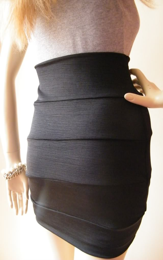♥ Black High Waisted Bandage Bodycon Mini Tube Skirt Size 6 8 10 12 | eBay