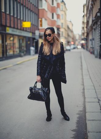 kenza jacket sweater sunglasses jeans hat jewels shoes bag
