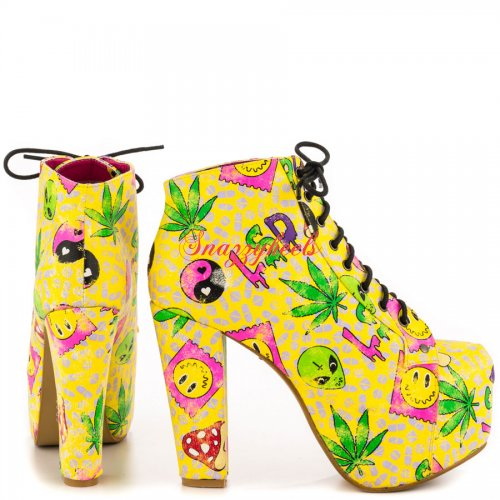 Get F Bootie Fall 2014 Yellow by Iron Fist [SNZYIF3743] - CAD $74.24 : SNAZZYHEELS.COM, Designer High Heels