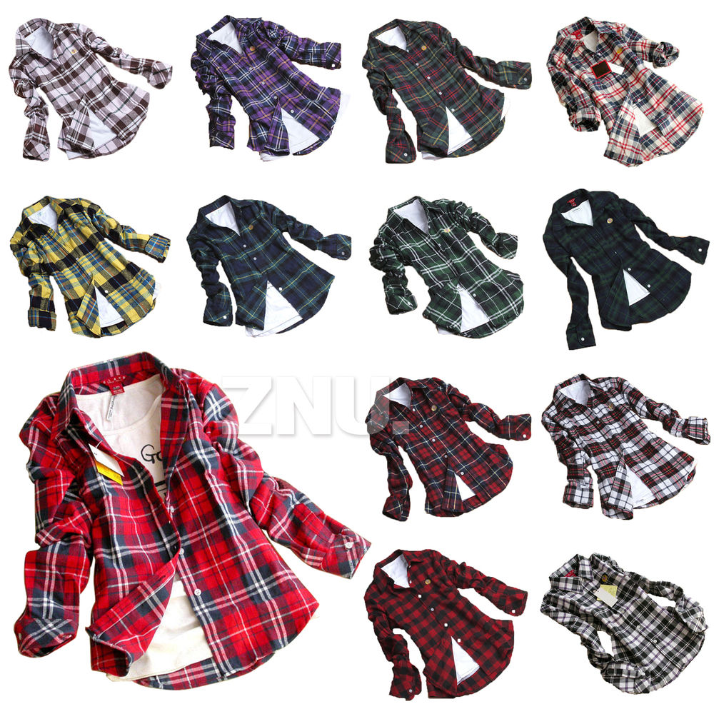 LADIES WOMENS CHECK SHIRT LUMBERJACK LONG SLEEVE FLANNEL BUTTON DOWN BLOUSE TOP