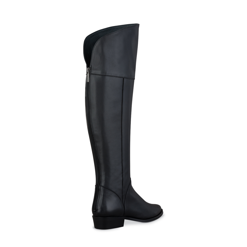 romi black fitted over the knee ladies boots duo