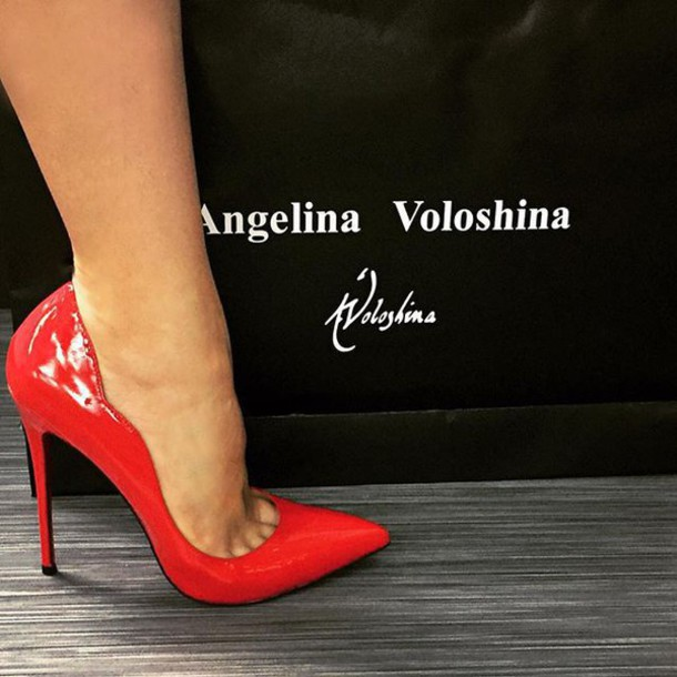 Shoes: angelina voloshina, red shoes, red heels, medium heels ...