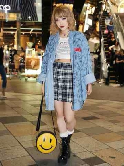 shirt pastel kawaii jacket t-shirt kawaii grunge denim jacket skirt ahirt top soft grunge