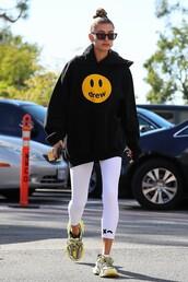 pants,black,sweatshirt,hoodie,hailey baldwin,casual
