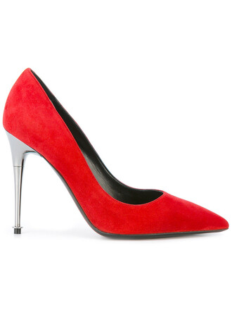 pointed toe pumps women pumps leather suede red shoes