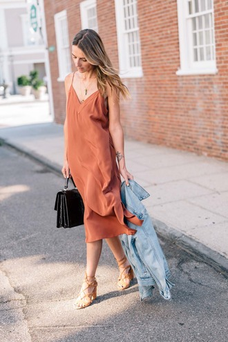 dress tumblr rust midi dress slip dress sandals sandal heels high heel sandals bag jacket denim denim jacket shoes
