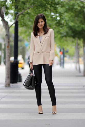 fake leather jacket leggings shoes jewels
