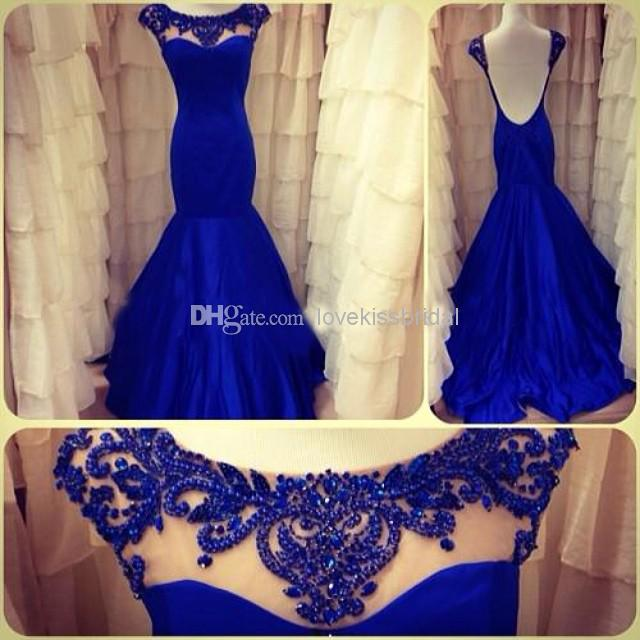 Cheap Elegant Prom Dresses - Discount 2014 New Formal Blue Crystal Backless Mermaid Prom Online with $141.32/Piece   DHgate