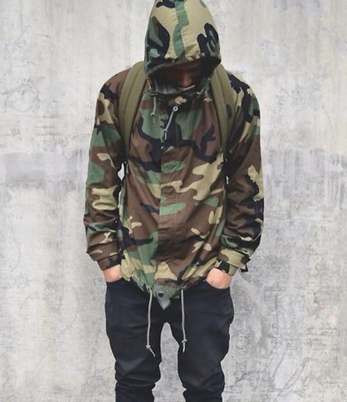 jacket camouflage windbreaker menswear