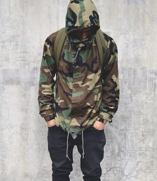 jacket camouflage windbreaker menswear coat camo jacket