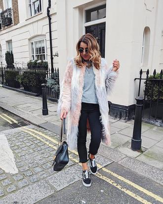 coat tumblr fur coat multicolor top grey top denim jeans black jeans cropped jeans sneakers vans vans outfits bag sunglasses