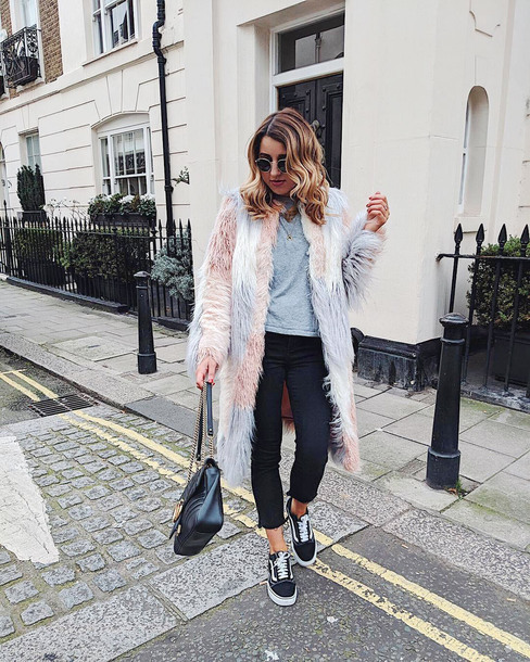 coat tumblr fur coat multicolor top grey top denim jeans black jeans cropped jeans sneakers vans vans outfits bag sunglasses