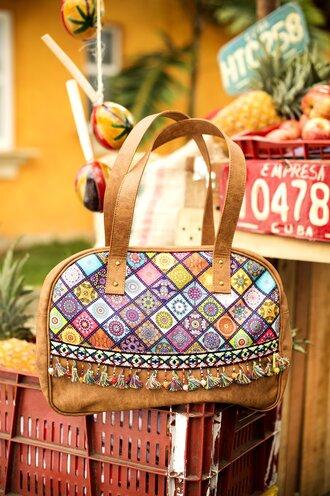bag purse big purse boho boho chic boho bag tribal pattern trippy leather leather bag