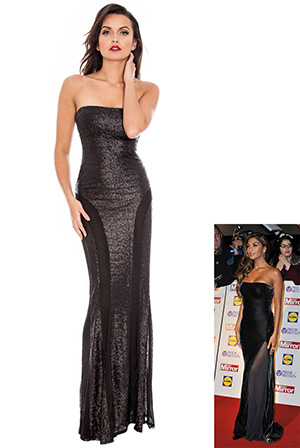 Mesh Insert Skirt Bandeau Sequin Maxi in the style of Nicole Scherzinger
