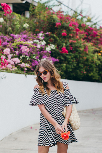 wish wish wish blogger sunglasses shoes bag off the shoulder striped dress mini dress summer dress