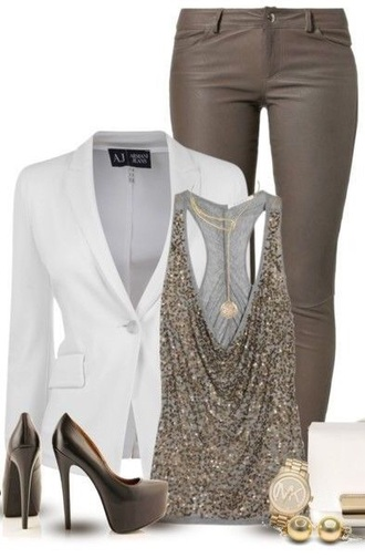 top outfit sequin sparkles tank top jacket jeans