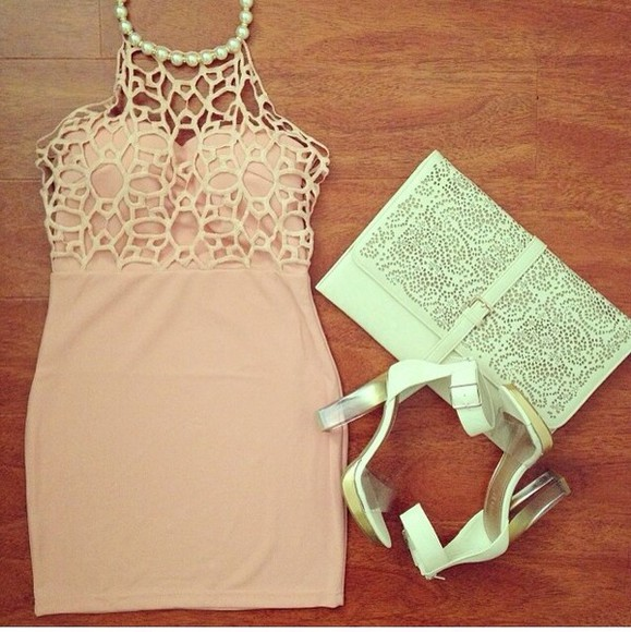 dress pearls lace beige rosé bodycon bandeau bandage halter cutout party dress short dress prom shoes
