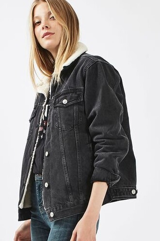 jacket oversized jacket denim oversized black