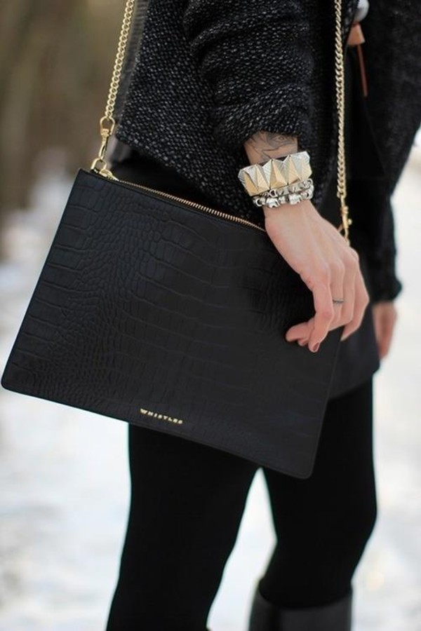 bag beautiful bags black leather bag leather crocodile