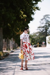 hallie daily,blogger,skirt,shoes,bag,sunglasses,jewels,red skirt,maxi skirt,red heels,lace up heels,yellow bag,embroidered satin shirt,midi floral skirt