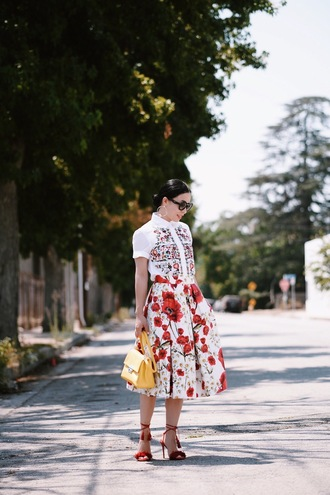 hallie daily blogger skirt shoes bag sunglasses jewels red skirt maxi skirt red heels lace up heels yellow bag
