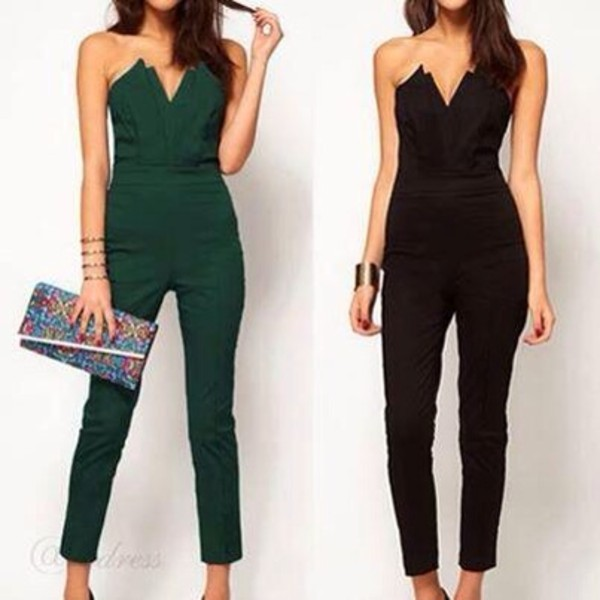 Black Strapless V-neck Jumpsuit @ Rompers And Jumpsuits For Women ...