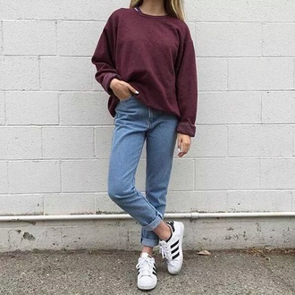 sweater cherry red pullover tumblr