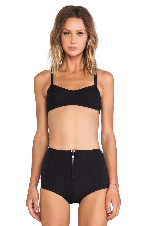 Lisa Marie Fernandez Genevieve High-Waisted Bikini in Black Pucker from REVOLVEclothing.com