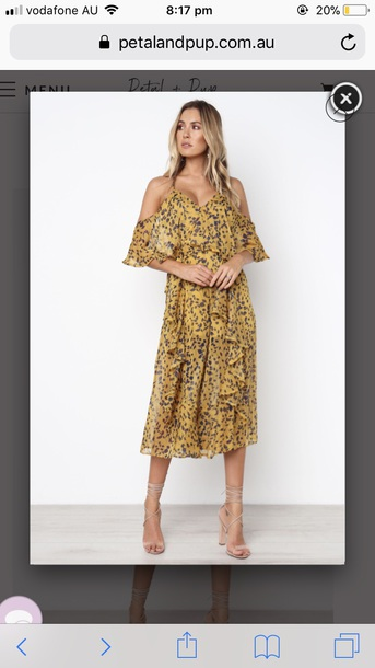 jumpsuit petal and pup yellow chiffon off the shoulder paisley