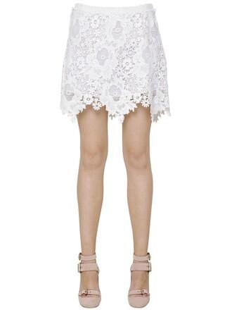 skirt mini skirt mini lace floral cotton white