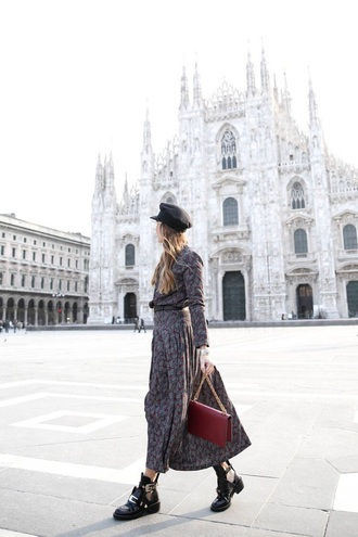 dress floral floral dress maxi dress hat fisherman cap boots black boots ankle boots
