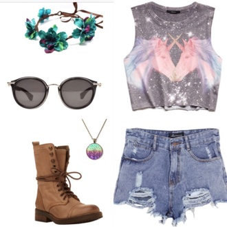 fashion graphic tee cut off shorts headband boots unicorn shirt blue pink lovely pepa grunge shoes grunge boots grunge sunglasses hair accessory