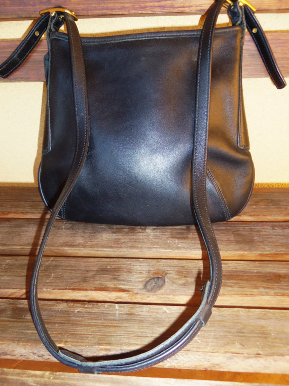 ON SALE  Authentic Vintage Black Leather Coach by OceanOfFlowers