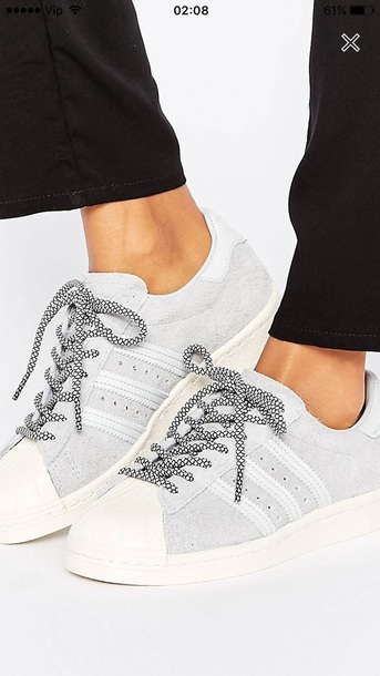 shoes adidas superstars sneakers grey size 4 suede